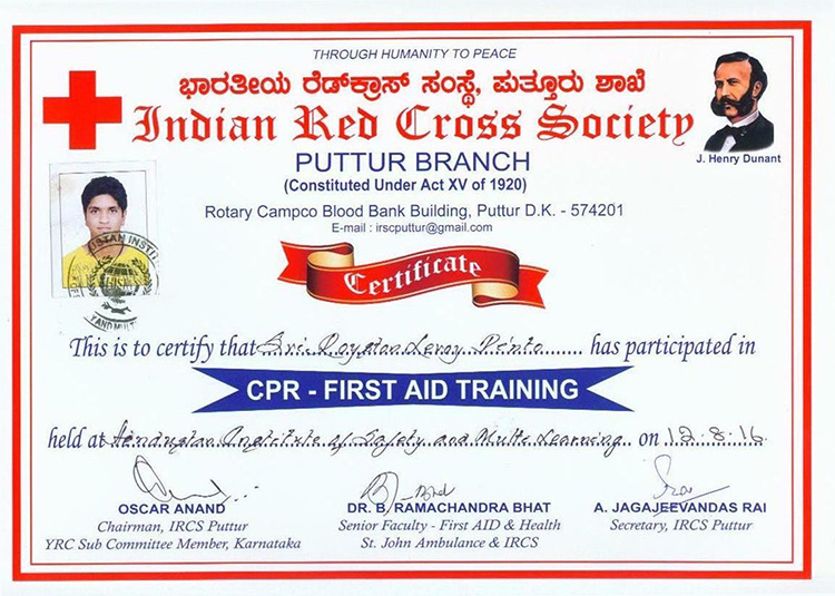 first aid ceretification courses in mangalore